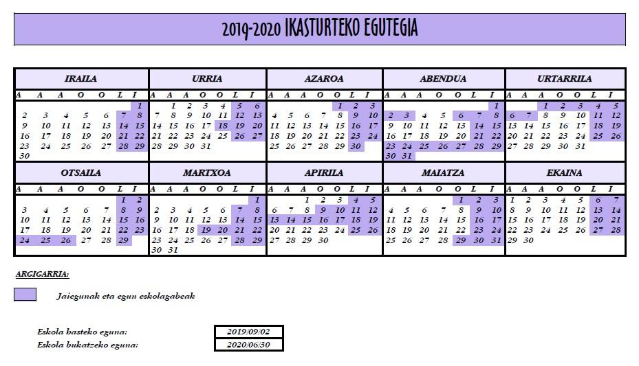 2019-2020 egutegia