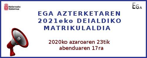 2021 matrikuladia iragarri